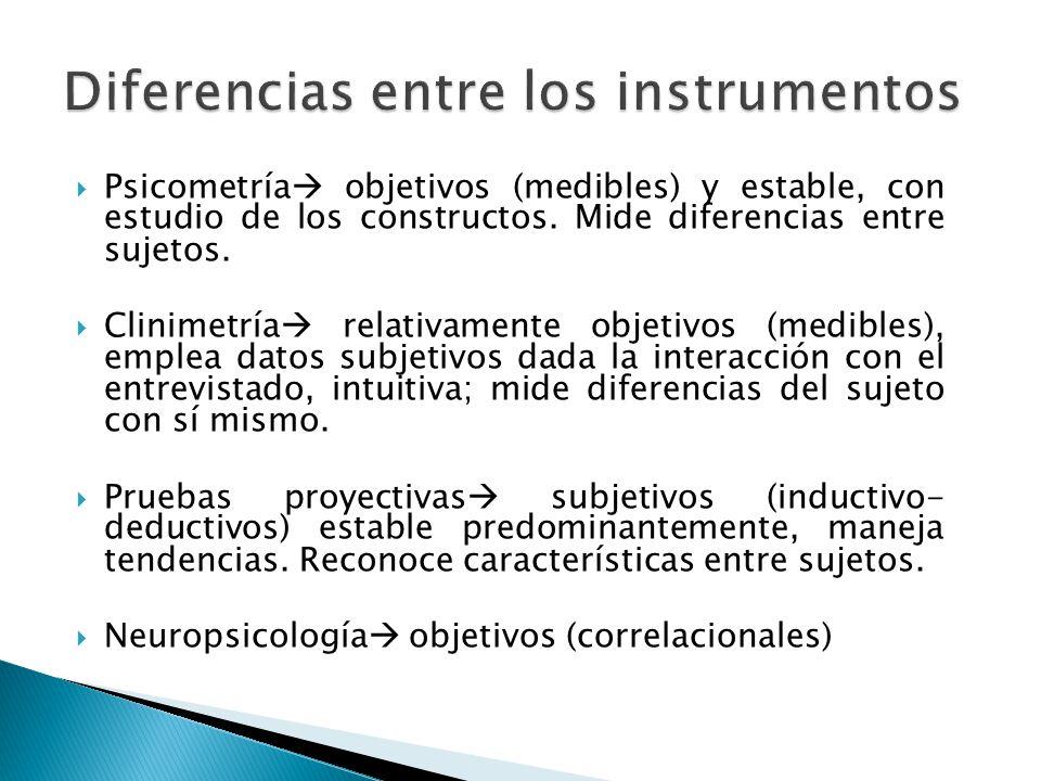 Psicometría objetivos (medibles) y estable, con estudio de los constructos. Mide diferencias entre sujetos. Clinimetría relativamente objetivos (medib