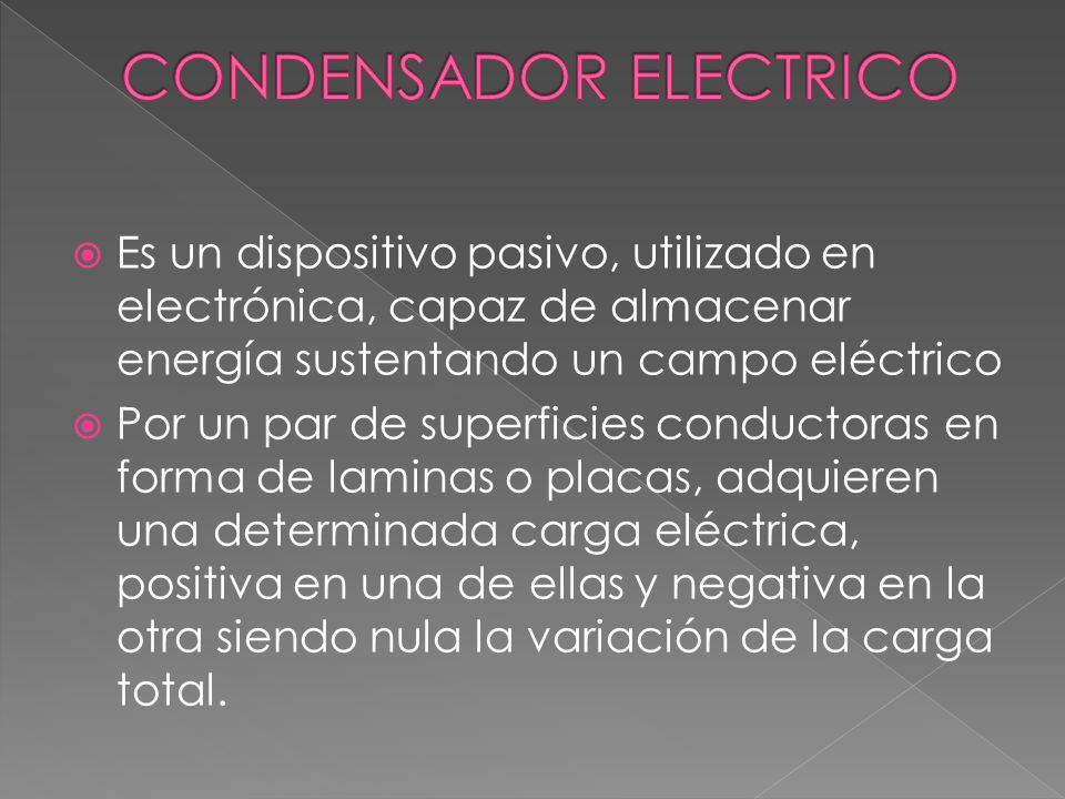 Es un dispositivo pasivo, utilizado en electrónica, capaz de almacenar energía sustentando un campo eléctrico Por un par de superficies conductoras en