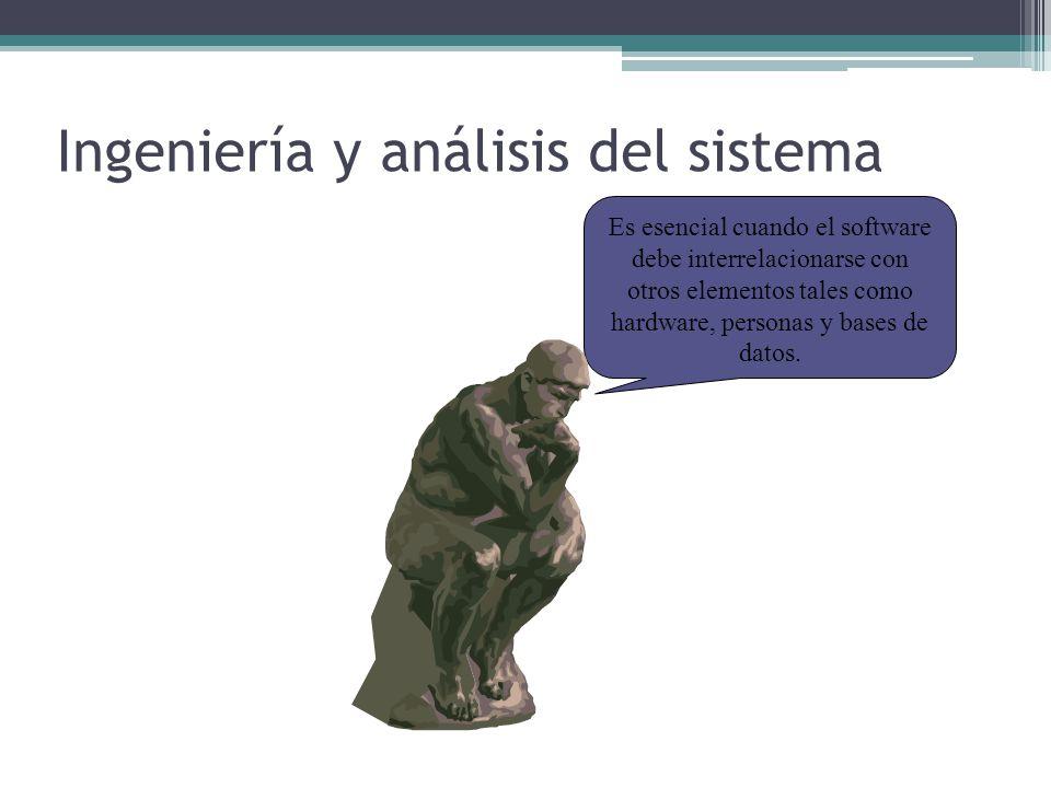 Ingeniería y análisis del sistema La ingeniería y análisis del sistema abarcan los requerimientos globales a un nivel de sistema con una pequeña cantidad de análisis y diseño a nivel superior.