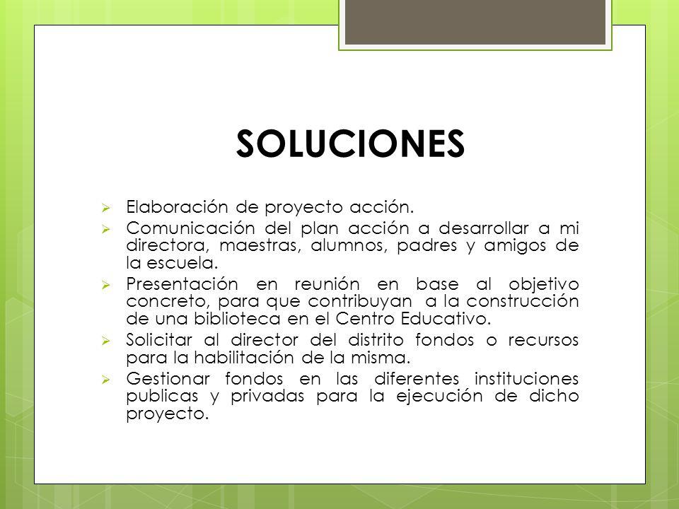 SOLUCIONES Elaboración de proyecto acción. Comunicación del plan acción a desarrollar a mi directora, maestras, alumnos, padres y amigos de la escuela