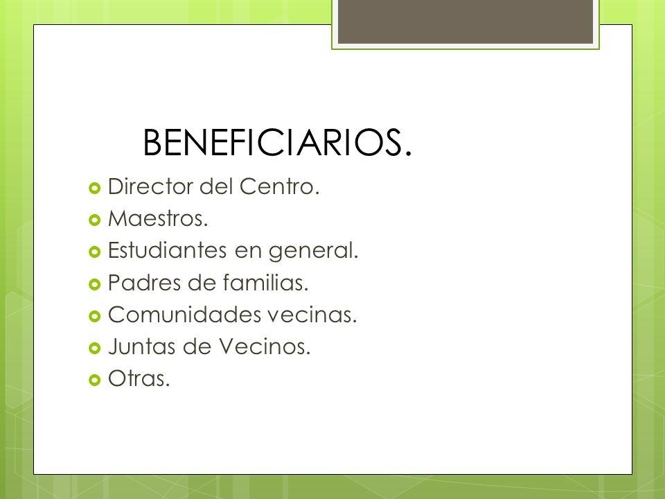 BENEFICIARIOS. Director del Centro. Maestros. Estudiantes en general. Padres de familias. Comunidades vecinas. Juntas de Vecinos. Otras.