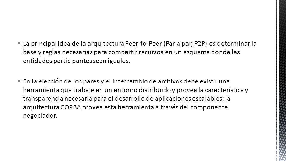 La principal idea de la arquitectura Peer-to-Peer (Par a par, P2P) es determinar la base y reglas necesarias para compartir recursos en un esquema don