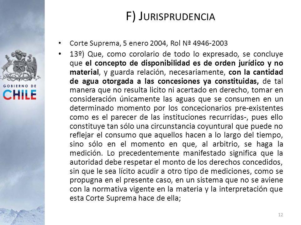 Corte Suprema, 5 enero 2004, Rol Nª 4946-2003 13º) Que, como corolario de todo lo expresado, se concluye que el concepto de disponibilidad es de orden