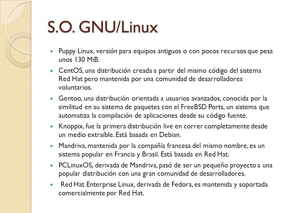 S.O. GNU/Linux Puppy Linux, versión para equipos antiguos o con pocos recursos que pesa unos 130 MiB. CentOS, una distribución creada a partir del mis