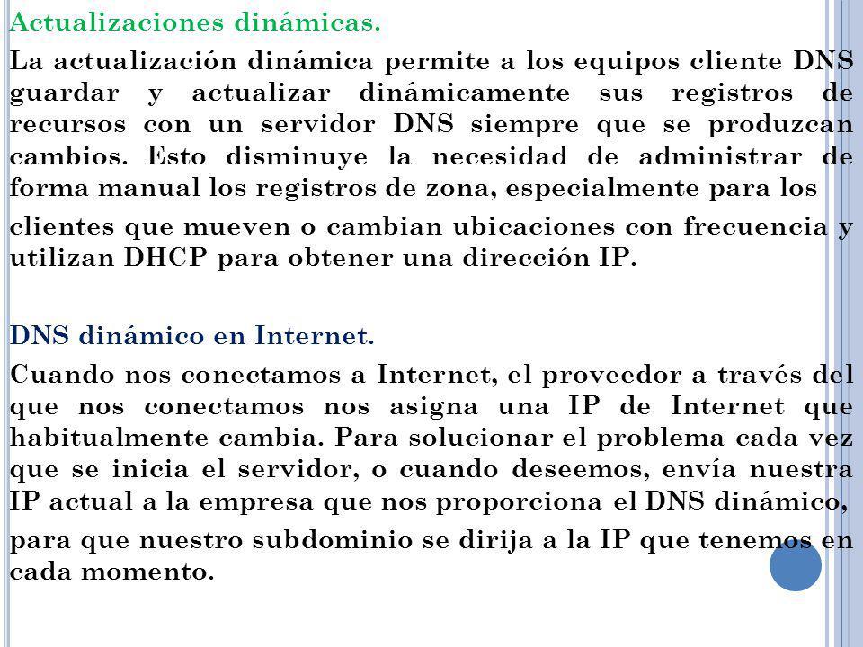 Actualizaciones dinámicas. La actualización dinámica permite a los equipos cliente DNS guardar y actualizar dinámicamente sus registros de recursos co