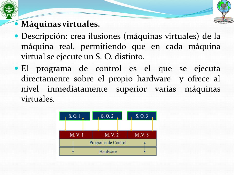 Máquinas virtuales. Descripción: crea ilusiones (máquinas virtuales) de la máquina real, permitiendo que en cada máquina virtual se ejecute un S. O. d