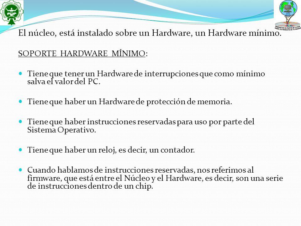 SOPORTE HARDWARE MÍNIMO: Tiene que tener un Hardware de interrupciones que como mínimo salva el valor del PC. Tiene que haber un Hardware de protecció
