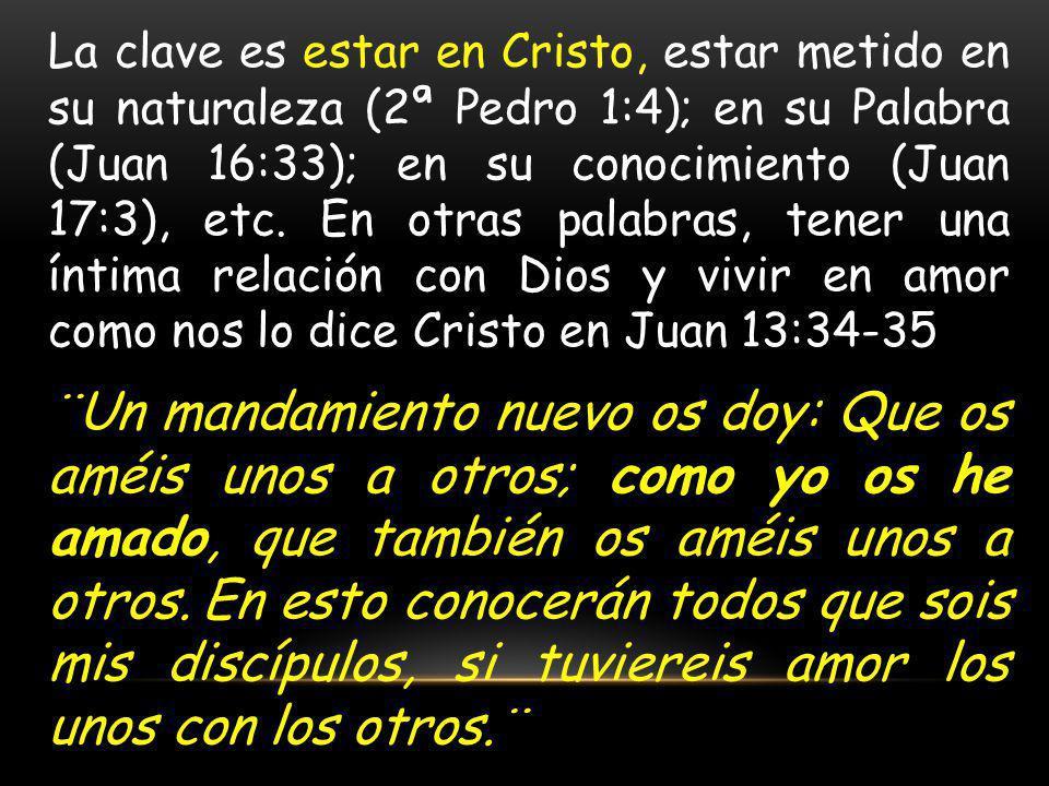 La clave es estar en Cristo, estar metido en su naturaleza (2ª Pedro 1:4); en su Palabra (Juan 16:33); en su conocimiento (Juan 17:3), etc. En otras p