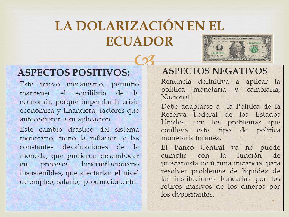 LA DOLARIZACIÓN EN EL ECUADOR ASPECTOS POSITIVOS: -Este nuevo mecanismo, permitió mantener el equilibrio de la economía, porque imperaba la crisis eco