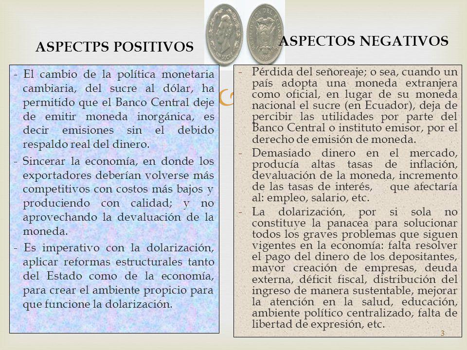 ASPECTPS POSITIVOS - El cambio de la política monetaria cambiaria, del sucre al dólar, ha permitido que el Banco Central deje de emitir moneda inorgán