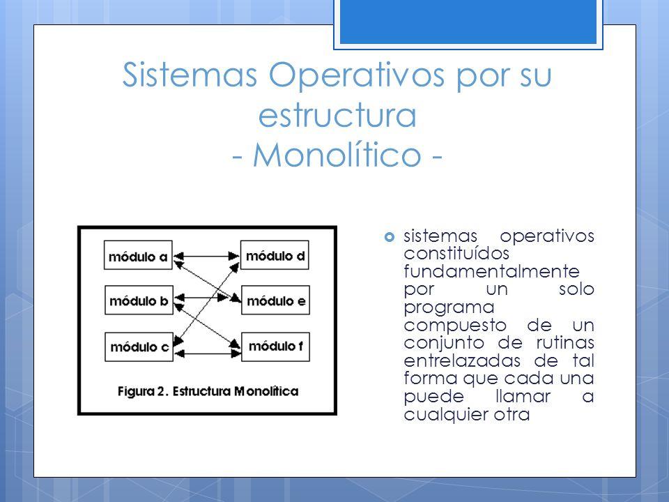 Sistemas Operativos por su estructura - Monolítico - sistemas operativos constituídos fundamentalmente por un solo programa compuesto de un conjunto d