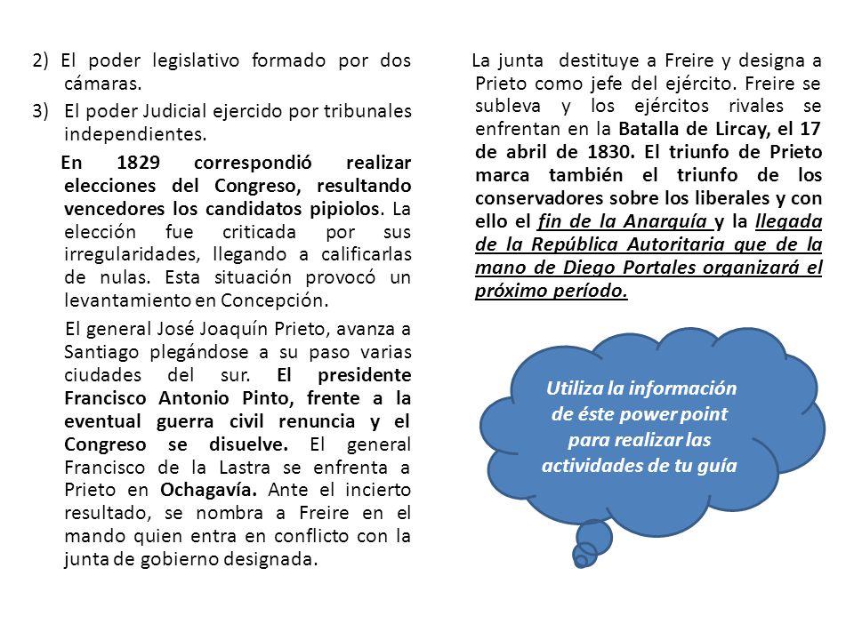 2) El poder legislativo formado por dos cámaras. 3)El poder Judicial ejercido por tribunales independientes. En 1829 correspondió realizar elecciones