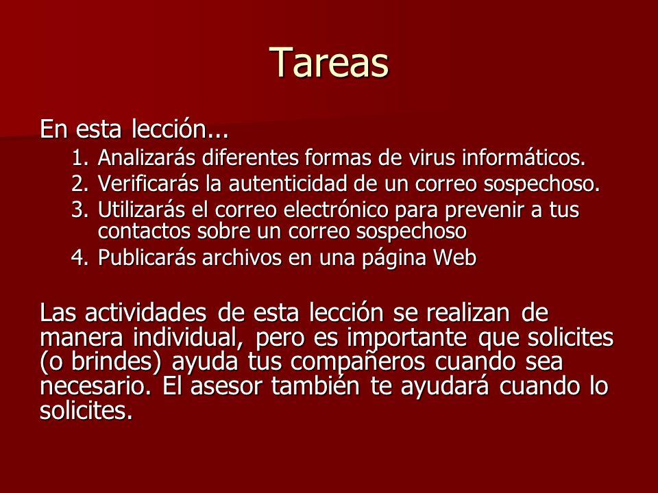 Tareas En esta lección... 1.Analizarás diferentes formas de virus informáticos. 2.Verificarás la autenticidad de un correo sospechoso. 3.Utilizarás el