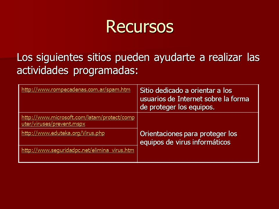 Recursos Los siguientes sitios pueden ayudarte a realizar las actividades programadas: http://www.rompecadenas.com.ar/spam.htm Sitio dedicado a orient