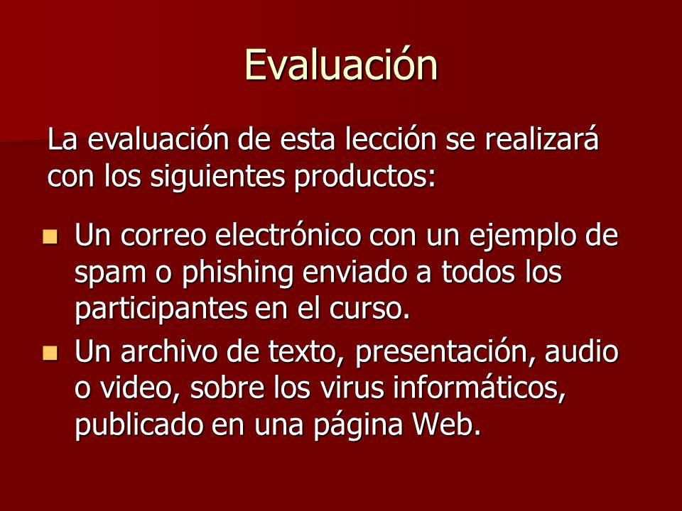 Evaluación Un correo electrónico con un ejemplo de spam o phishing enviado a todos los participantes en el curso. Un correo electrónico con un ejemplo
