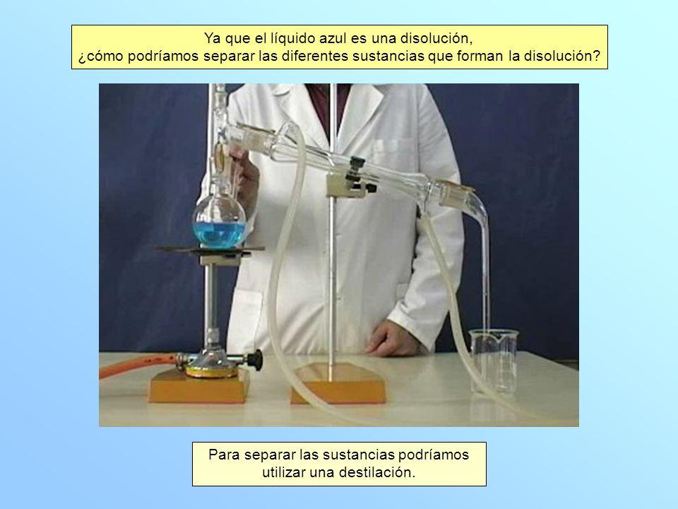 Ya que el líquido azul es una disolución, ¿cómo podríamos separar las diferentes sustancias que forman la disolución.