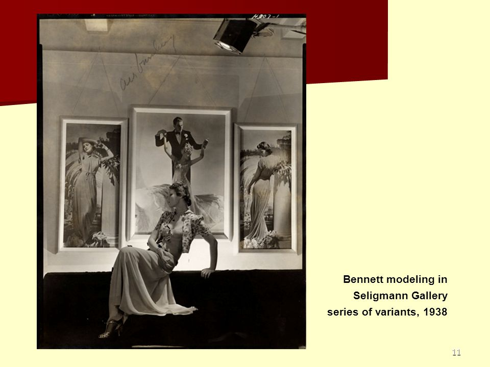 11 Bennett modeling in Seligmann Gallery series of variants, 1938