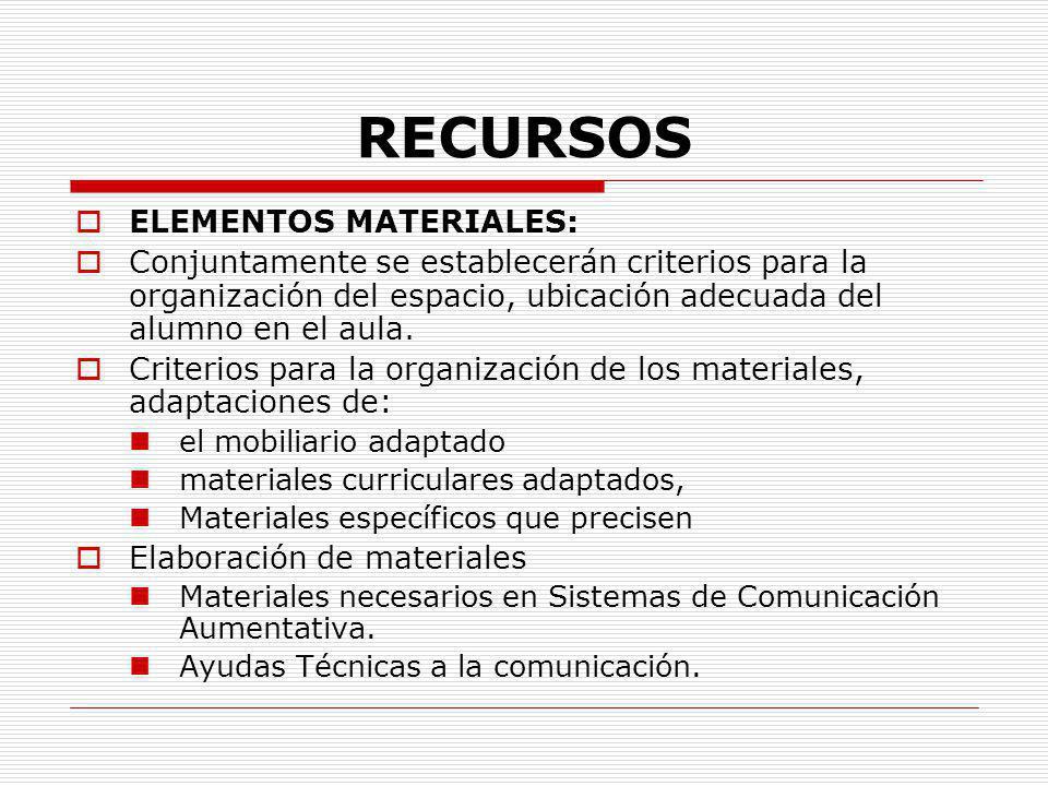 RECURSOS ELEMENTOS MATERIALES: Conjuntamente se establecerán criterios para la organización del espacio, ubicación adecuada del alumno en el aula. Cri