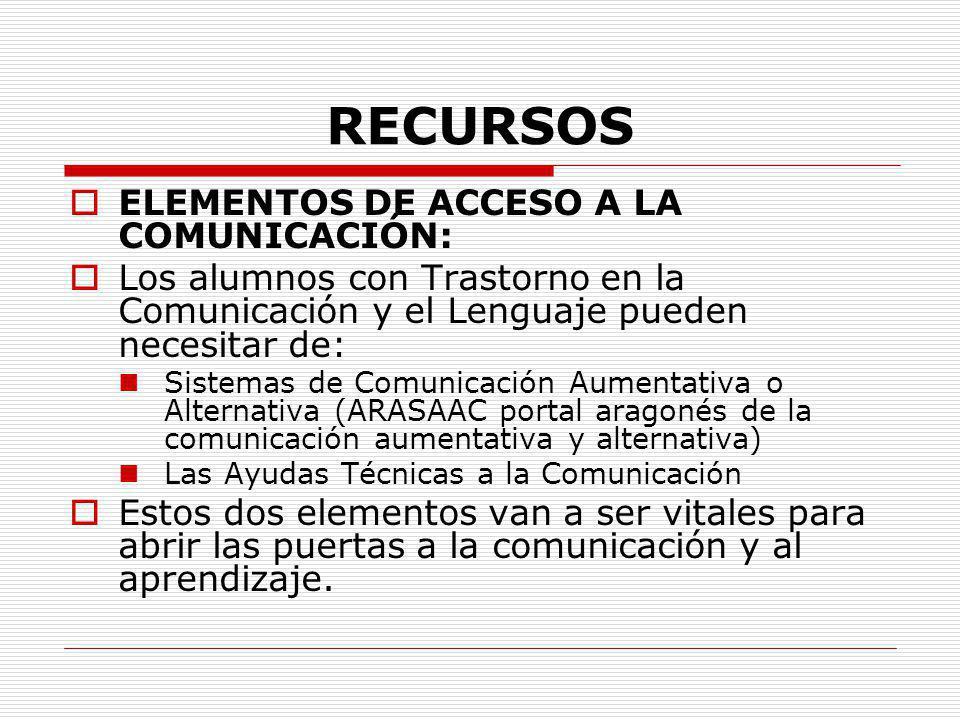 RECURSOS ELEMENTOS DE ACCESO A LA COMUNICACIÓN: Los alumnos con Trastorno en la Comunicación y el Lenguaje pueden necesitar de: Sistemas de Comunicaci