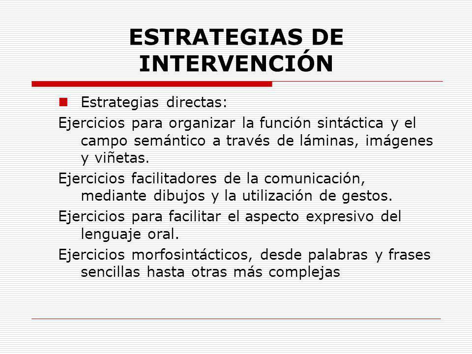 ESTRATEGIAS DE INTERVENCIÓN Estrategias directas: Ejercicios para organizar la función sintáctica y el campo semántico a través de láminas, imágenes y