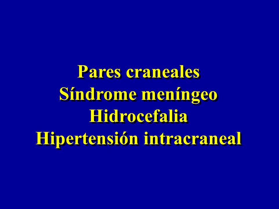 Nervios motores oculares (III, IV, VI) Movimientos conjugados de los ojos *Opsoclonus movimientos rápidos de los ojos en múltiples direcciones Causas : encefalitis vírica encefalitis paraneoplásica *Nistagmus alteración de los movimientos oculares, oscilaciones rítmicas repetidas e involuntarias de los ojos Causas : desigualdad en el tono de los músculos Oscilopsia, sensación de movimiento del entorno Nervios motores oculares (III, IV, VI) Movimientos conjugados de los ojos *Opsoclonus movimientos rápidos de los ojos en múltiples direcciones Causas : encefalitis vírica encefalitis paraneoplásica *Nistagmus alteración de los movimientos oculares, oscilaciones rítmicas repetidas e involuntarias de los ojos Causas : desigualdad en el tono de los músculos Oscilopsia, sensación de movimiento del entorno Pares craneales
