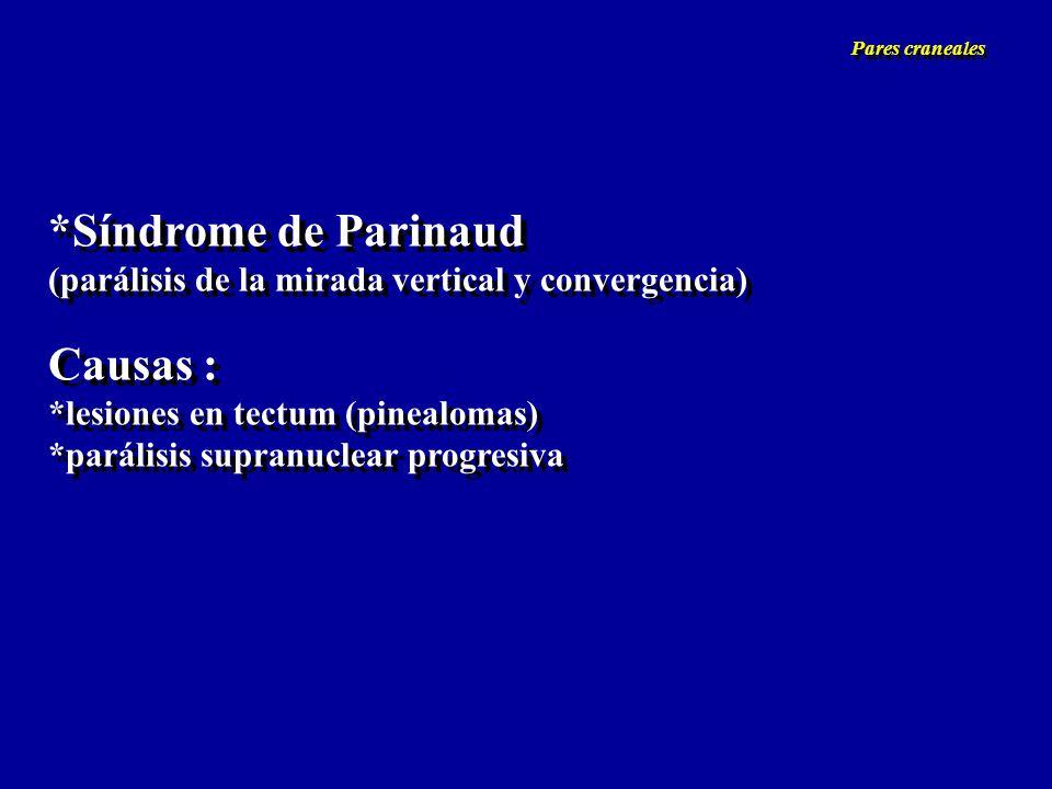 *Síndrome de Parinaud (parálisis de la mirada vertical y convergencia) Causas : *lesiones en tectum (pinealomas) *parálisis supranuclear progresiva *S