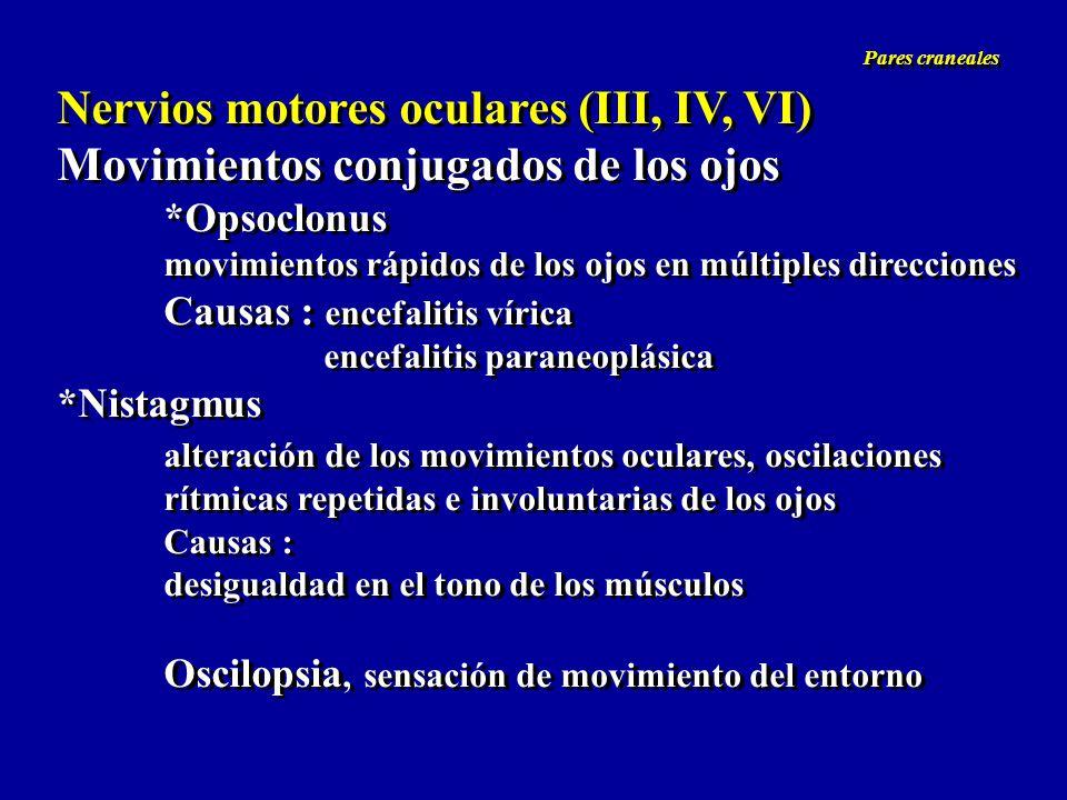 Nervios motores oculares (III, IV, VI) Movimientos conjugados de los ojos *Opsoclonus movimientos rápidos de los ojos en múltiples direcciones Causas