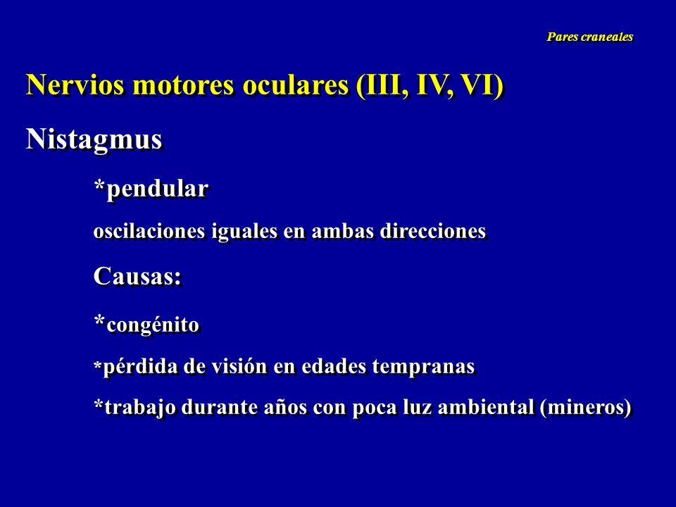 Nervios motores oculares (III, IV, VI) Nistagmus *pendular oscilaciones iguales en ambas direcciones Causas: * congénito * pérdida de visión en edades