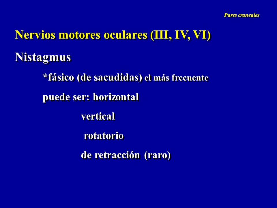 Nervios motores oculares (III, IV, VI) Nistagmus *fásico (de sacudidas) el más frecuente puede ser: horizontal vertical rotatorio de retracción (raro)