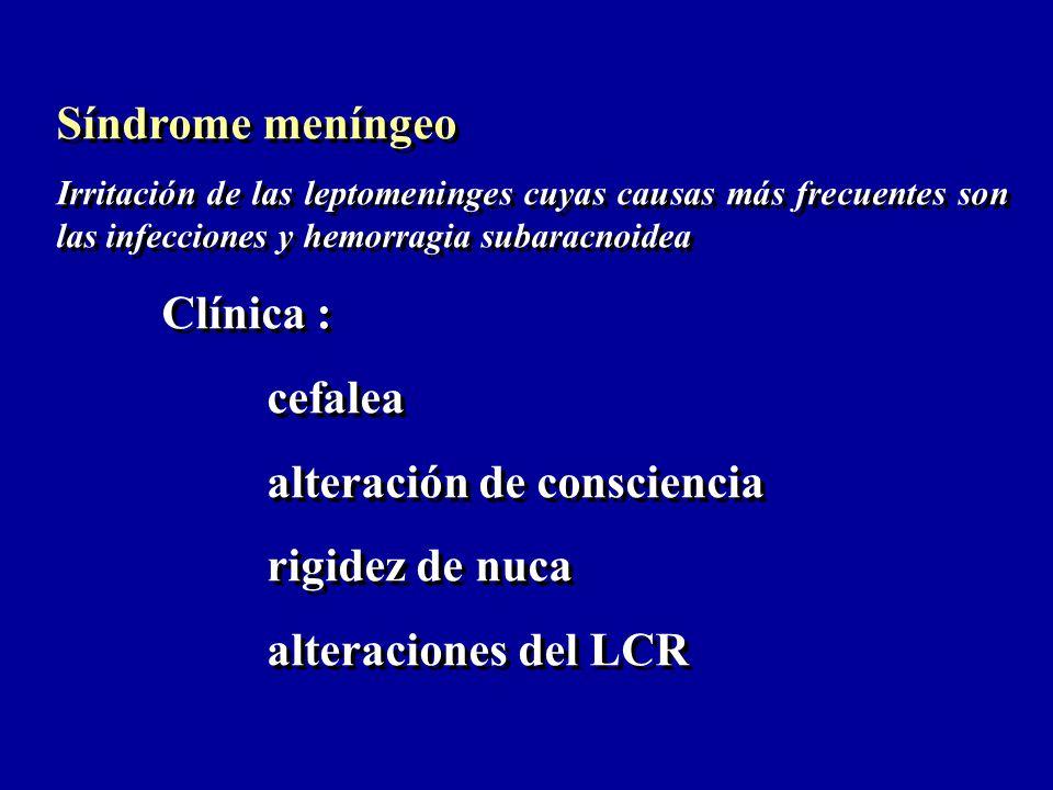Síndrome meníngeo Irritación de las leptomeninges cuyas causas más frecuentes son las infecciones y hemorragia subaracnoidea Clínica : cefalea alterac