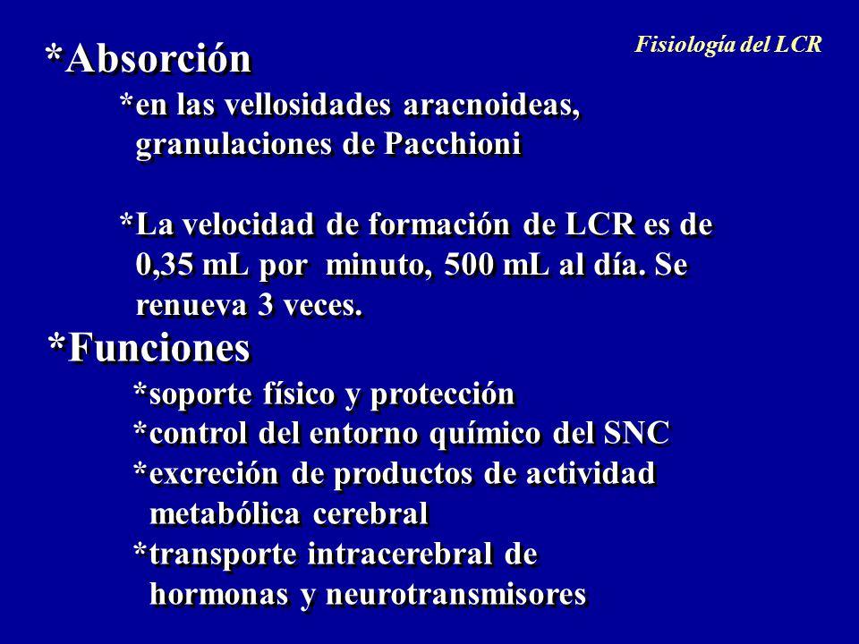 *Absorción *en las vellosidades aracnoideas, granulaciones de Pacchioni *La velocidad de formación de LCR es de 0,35 mL por minuto, 500 mL al día. Se