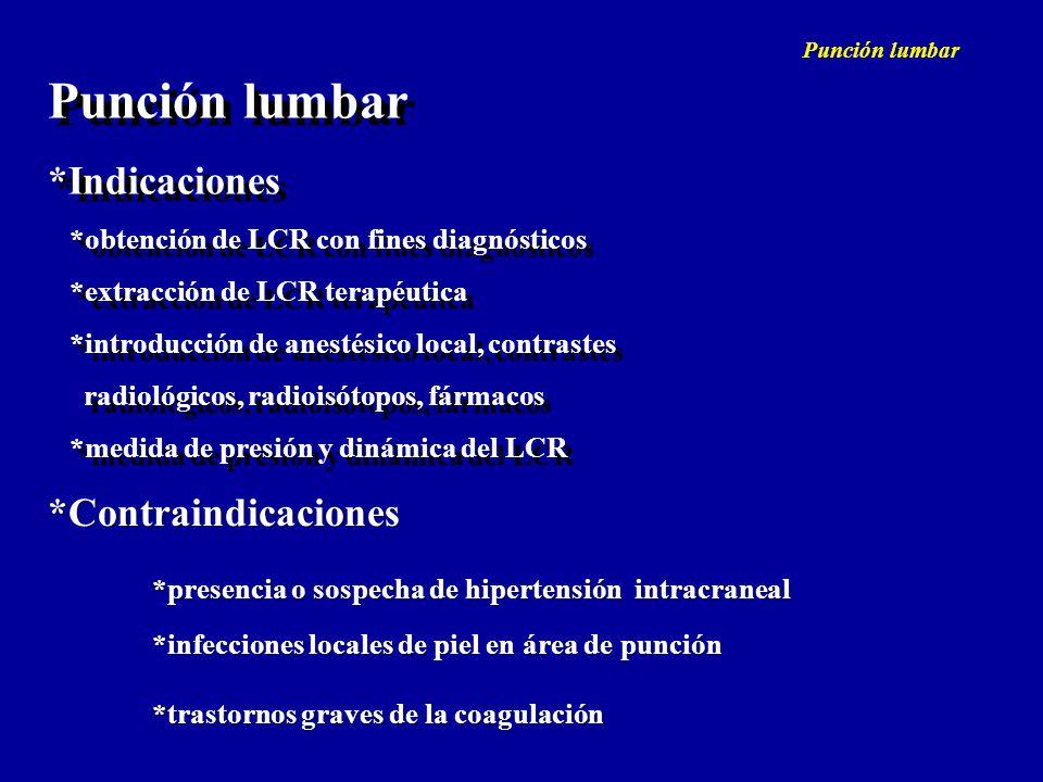 Punción lumbar *Indicaciones *obtención de LCR con fines diagnósticos *extracción de LCR terapéutica *introducción de anestésico local, contrastes rad