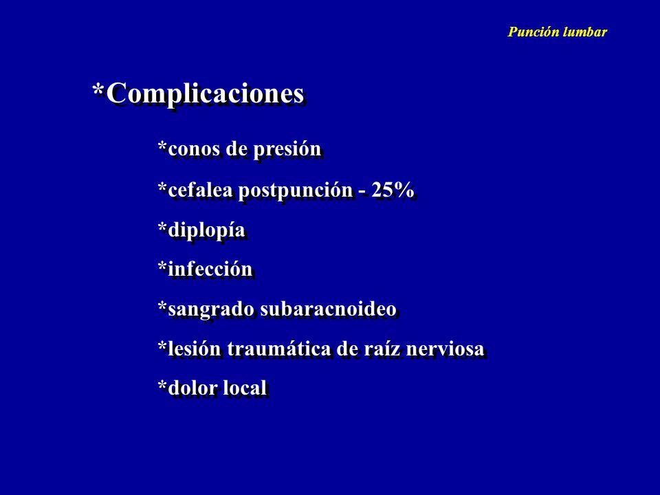 *Complicaciones *conos de presión *cefalea postpunción - 25% *diplopía *infección *sangrado subaracnoideo *lesión traumática de raíz nerviosa *dolor l