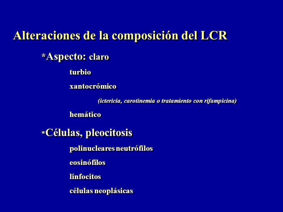 Alteraciones de la composición del LCR * Aspecto: claro turbio xantocrómico (ictericia, carotinemia o tratamiento con rifampicina) hemático * Células,