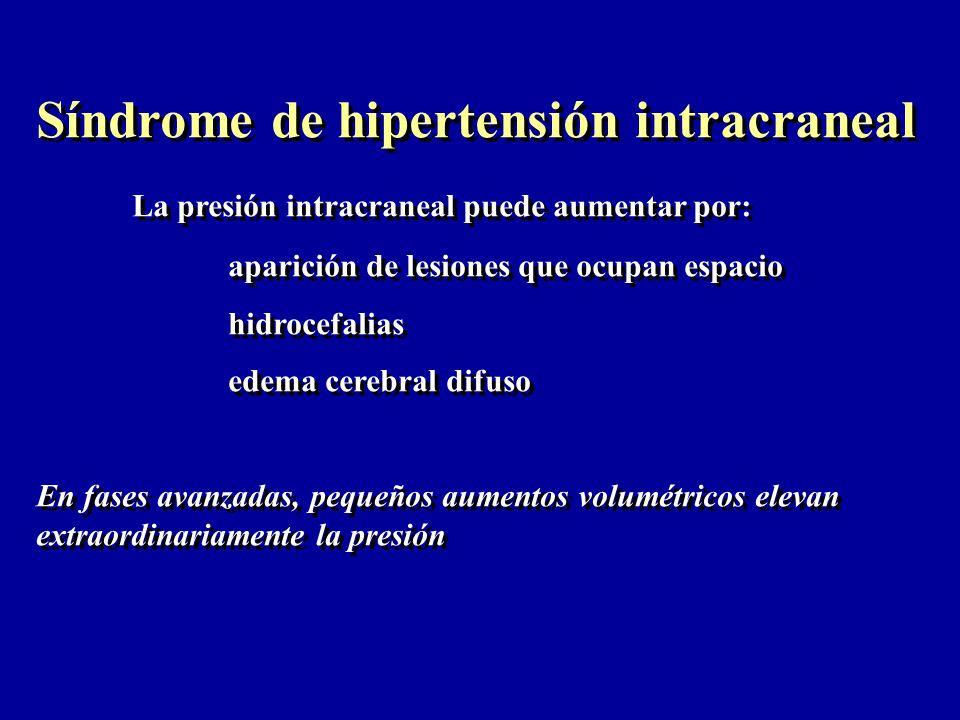 Síndrome de hipertensión intracraneal La presión intracraneal puede aumentar por: aparición de lesiones que ocupan espacio hidrocefalias edema cerebra