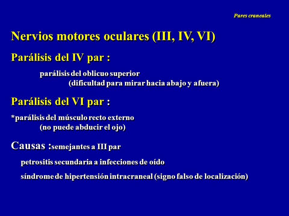 Nervios motores oculares (III, IV, VI) Parálisis del IV par : parálisis del oblicuo superior (dificultad para mirar hacia abajo y afuera) Parálisis de