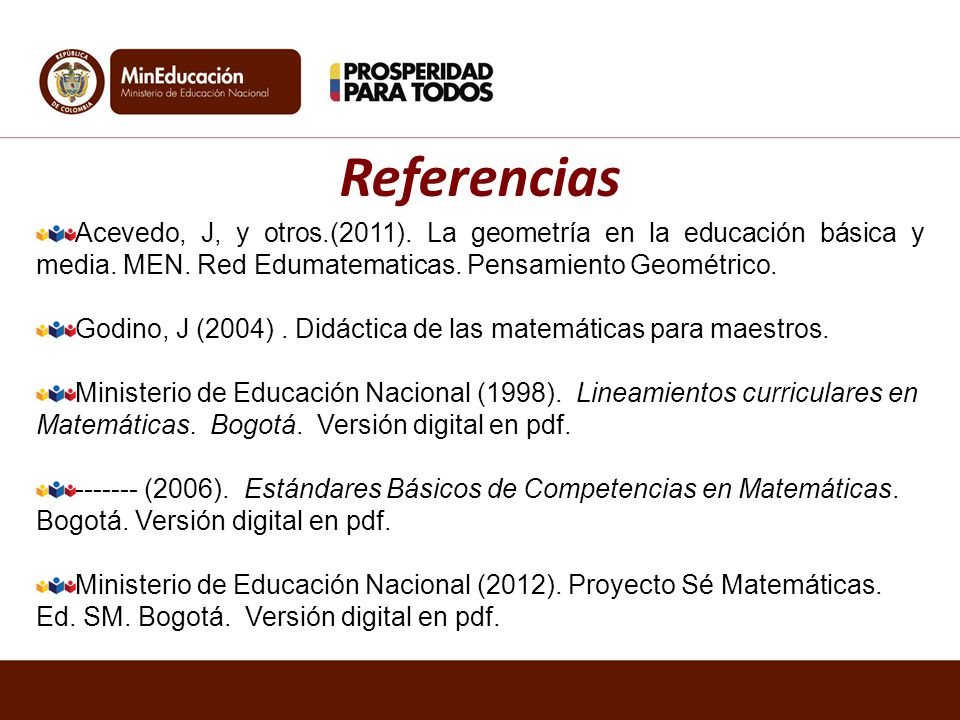 Acevedo, J, y otros.(2011). La geometría en la educación básica y media. MEN. Red Edumatematicas. Pensamiento Geométrico. Godino, J (2004). Didáctica