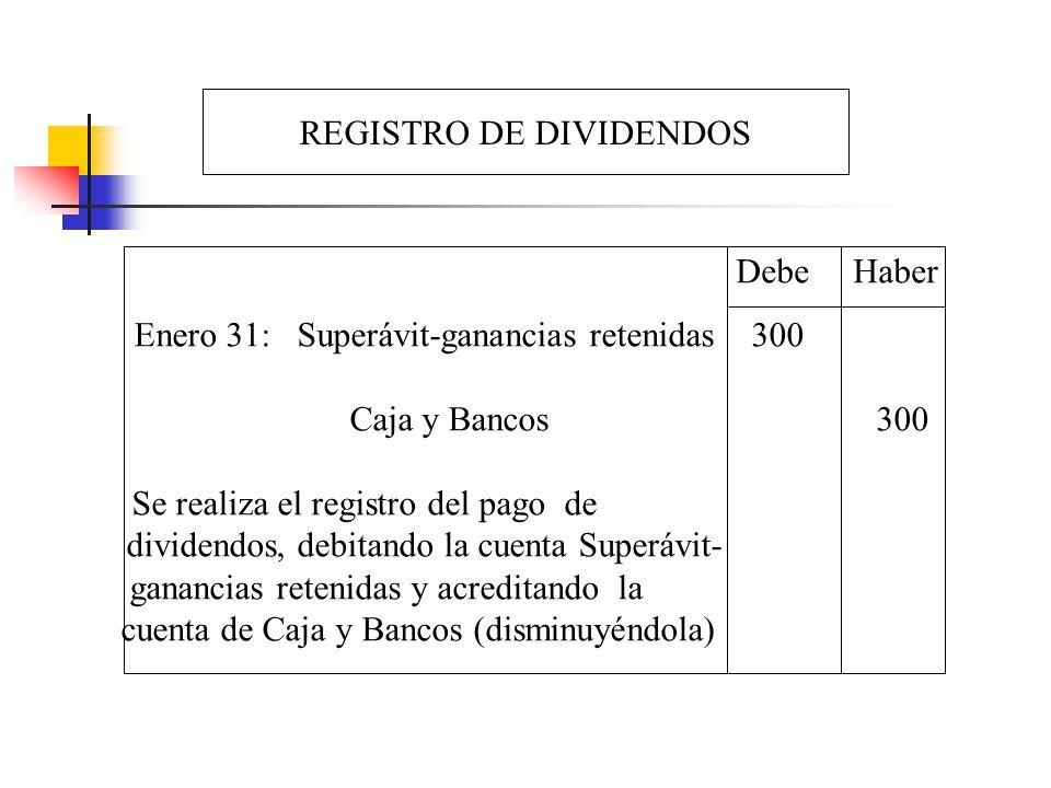 REGISTRO DE DIVIDENDOS Enero 31: Superávit-ganancias retenidas 300 Caja y Bancos 300 Se realiza el registro del pago de dividendos, debitando la cuent