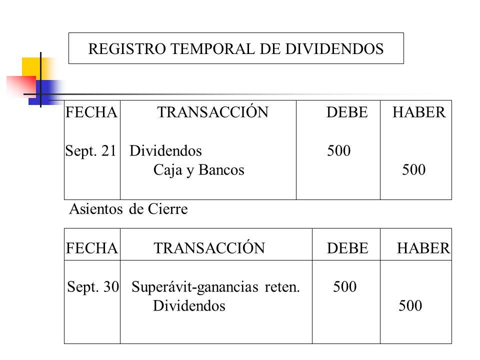 REGISTRO TEMPORAL DE DIVIDENDOS FECHA TRANSACCIÓN DEBE HABER Sept. 21 Dividendos 500 Caja y Bancos 500 FECHA TRANSACCIÓN DEBE HABER Sept. 30 Superávit