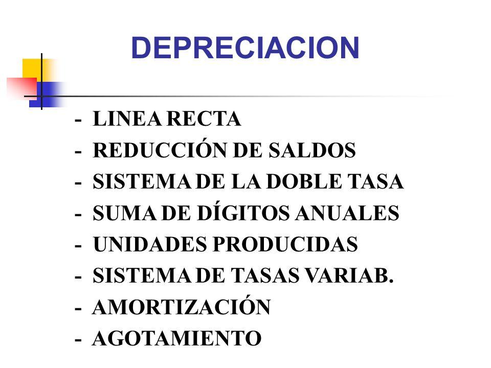 DEPRECIACION - LINEA RECTA - REDUCCIÓN DE SALDOS - SISTEMA DE LA DOBLE TASA - SUMA DE DÍGITOS ANUALES - UNIDADES PRODUCIDAS - SISTEMA DE TASAS VARIAB.