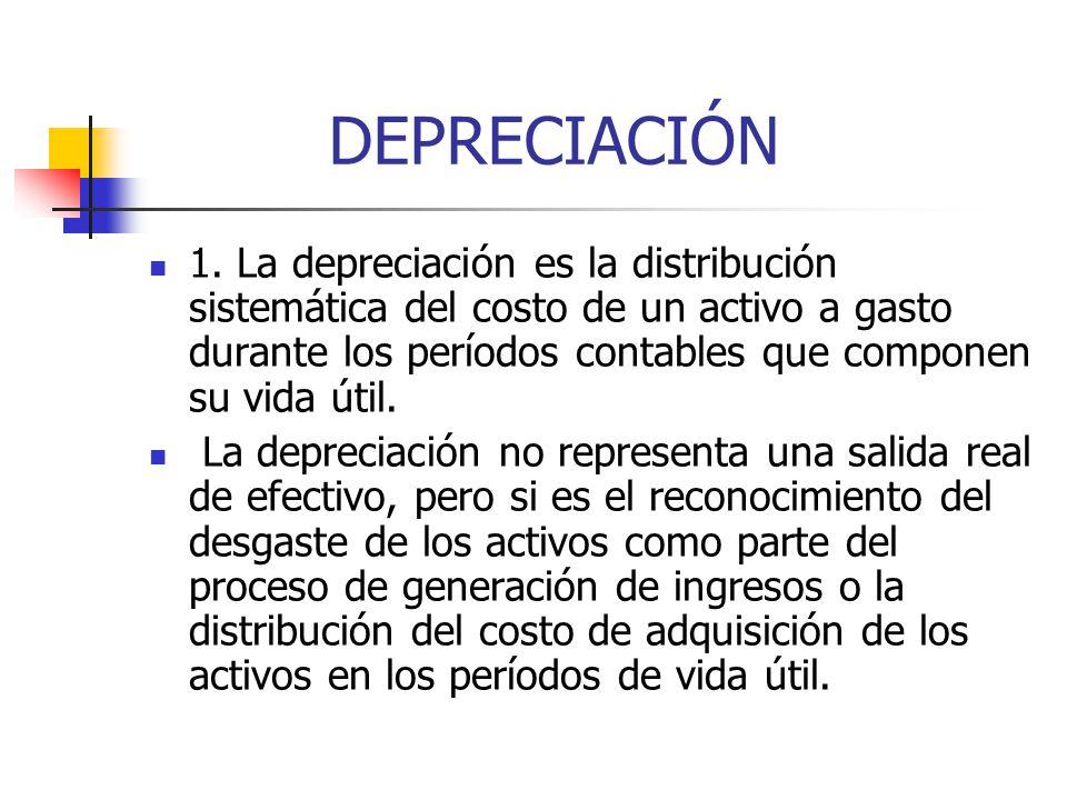 DEPRECIACIÓN 1. La depreciación es la distribución sistemática del costo de un activo a gasto durante los períodos contables que componen su vida útil
