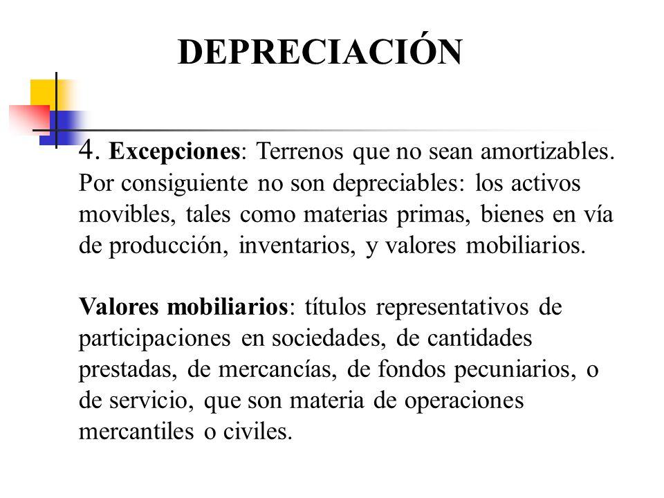 DEPRECIACIÓN 4. Excepciones: Terrenos que no sean amortizables. Por consiguiente no son depreciables: los activos movibles, tales como materias primas