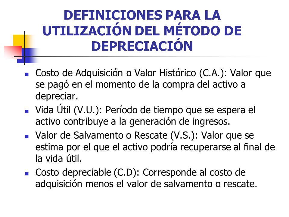 DEFINICIONES PARA LA UTILIZACIÓN DEL MÉTODO DE DEPRECIACIÓN Costo de Adquisición o Valor Histórico (C.A.): Valor que se pagó en el momento de la compr