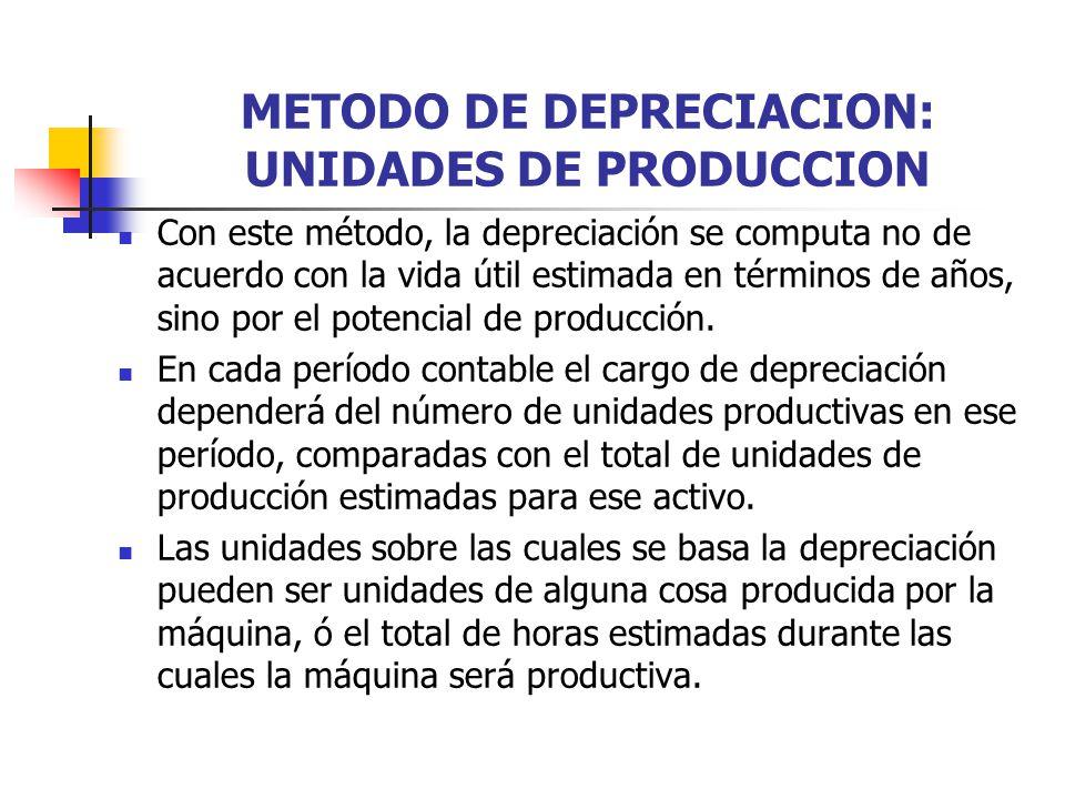 METODO DE DEPRECIACION: UNIDADES DE PRODUCCION Con este método, la depreciación se computa no de acuerdo con la vida útil estimada en términos de años