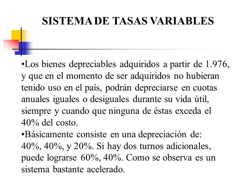 SISTEMA DE TASAS VARIABLES Los bienes depreciables adquiridos a partir de 1.976, y que en el momento de ser adquiridos no hubieran tenido uso en el pa