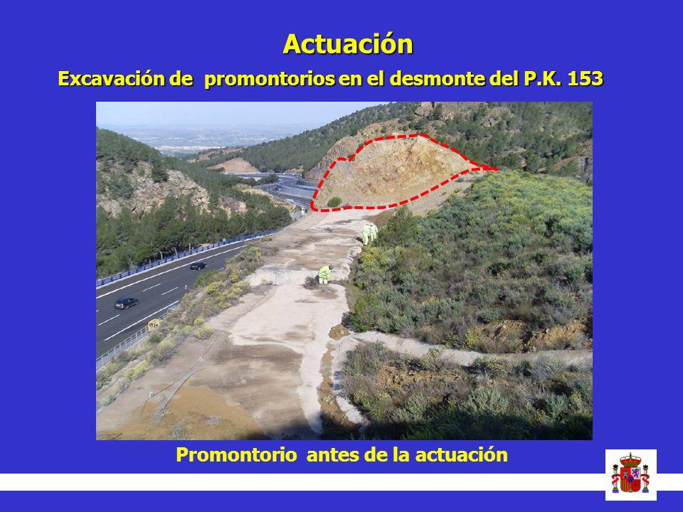 Actuación Excavación de promontorios en el desmonte del P.K. 153 Promontorio antes de la actuación