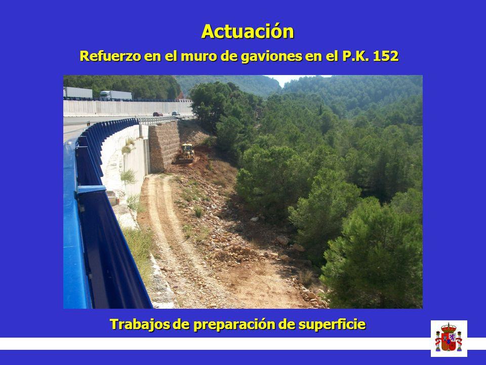 Actuación Refuerzo en el muro de gaviones en el P.K. 152 Trabajos de preparación de superficie
