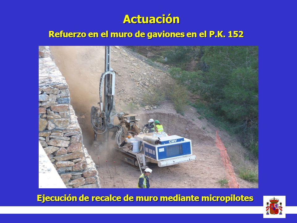Actuación Refuerzo en el muro de gaviones en el P.K. 152 Ejecución de recalce de muro mediante micropilotes