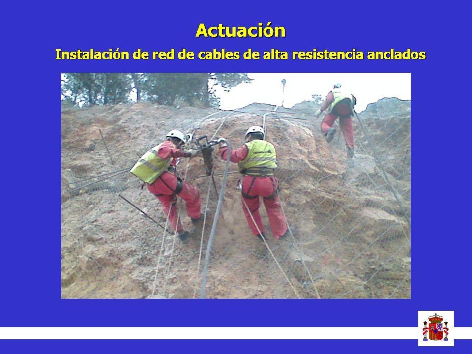 Actuación Instalación de red de cables de alta resistencia anclados