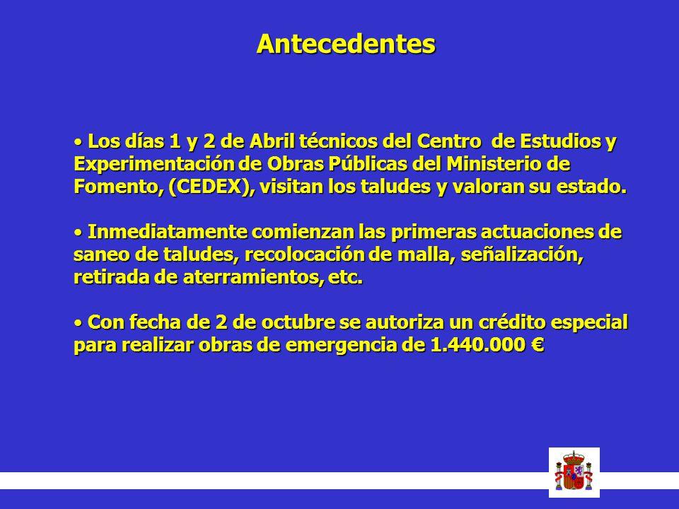 Los días 1 y 2 de Abril técnicos del Centro de Estudios y Experimentación de Obras Públicas del Ministerio de Fomento, (CEDEX), visitan los taludes y